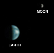 NASA's Mars Global Surveyor captured this image of Earth while orbiting Mars. The moon is visible in the background.