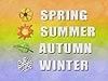 The words Spring, Summer, Autumn and Winter are superimposed on a colorful background