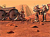 An artist's concept of two astronauts working on Mars