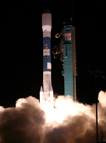 A Delta II rocket launches the OSTM/Jason-2 spacecraft.