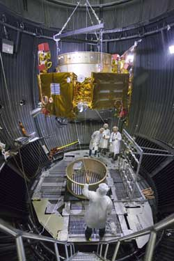 Image of LCROSS enter the thermal vacuum chamber at the Northrop Grumman facility in Redondo Beach, Calif.