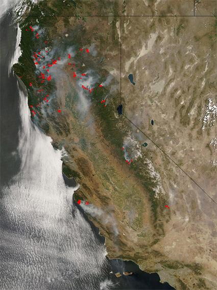 NASA - NASA Imagery of Fire and Smoke Satellite Map Of Fires California on lightning strike map california, large map of california, kern county california,