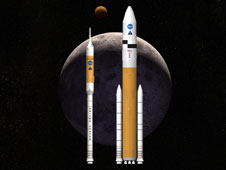 Artist concept of Ares I and Ares V rockets