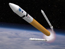 Concept image shows the Ares V cargo launch vehicle.