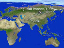 map showing location of Tunguska impact