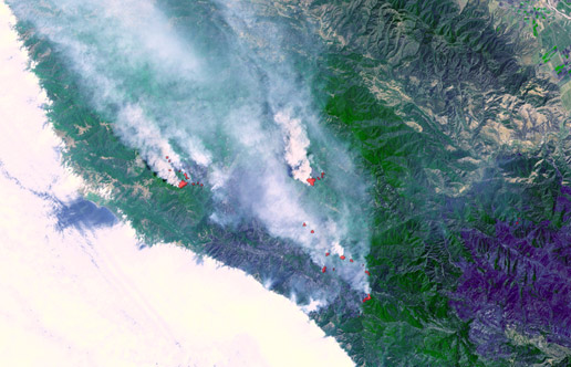 fires near Big Sur, California
