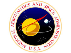 The NASA seal, with the words National Aeronautics and Space Administration U.S.A.
