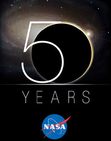A logo features the phrase 50 Years and the NASA insignia