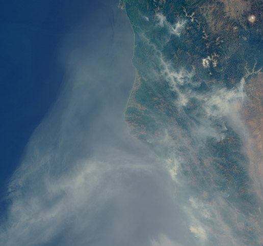 smoke from fires over northern California