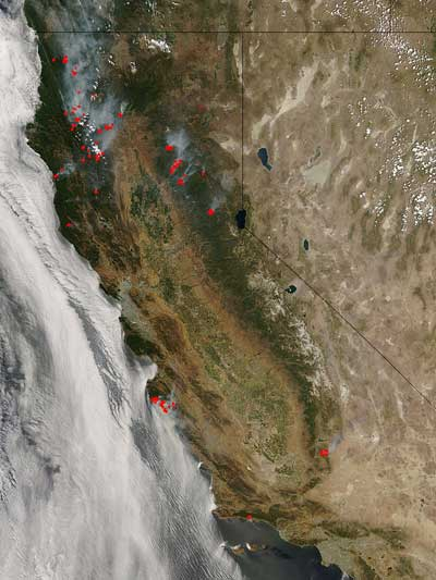 Aqua image of the California fires