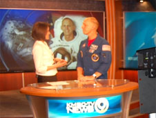 Astronaut Clay Anderson being interviewed