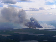 The chemical and particulate composition of the smoke plume from this boreal forest fire near Ft. McMurry in northern Alberta was the subject of an aerial study by ARCTAS mission scientists aboard NASA's DC-8 flying laboratory on July 1.