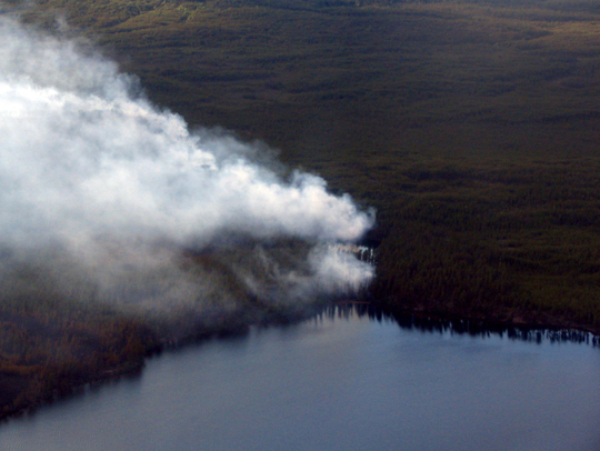 Smoke plumes seen from the air