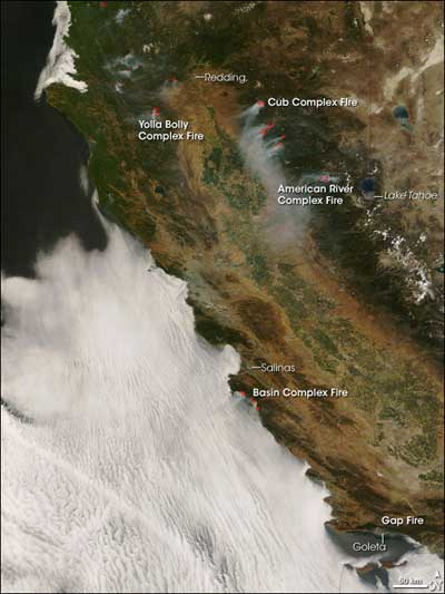 California fires taken by MODIS on July 6, 2008.