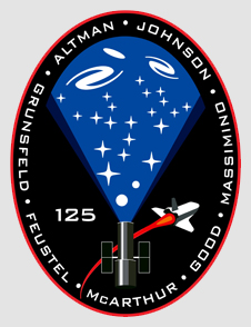 STS-125 mission patch. Small picture of the Hubble and the shuttle with a cone of galaxies that originates at the open end of the Hubble.