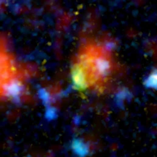 Star formation in dust clouds in a remote galaxy.