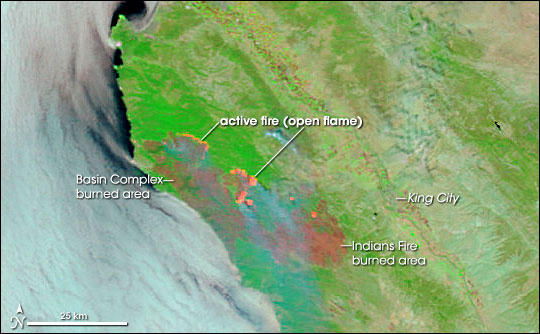 Burned acreage resulting from the Basin Complex Fire and the Indians Fire in California.