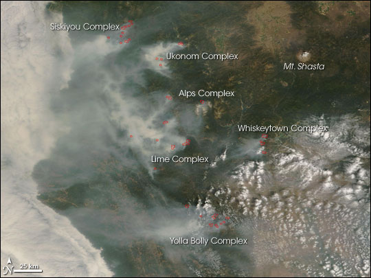 MODIS image of the California wildfires
