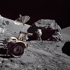 Exploration at its greatest - Geologist-astronaut Jack Schmitt standing next to a huge, split boulder during the Apollo 17 exploration of the Taurus-Littrow landing site in December 1972. Schmitt and Gene Cernan were the last two astronauts to explore the moon in the 20th century.