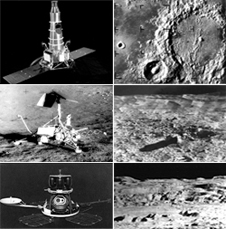 Robotic precursors - From top to bottom the Ranger, Surveyor and Lunar Orbiter spacecraft and the images they provided of the lunar surface.