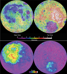 Full moon - Top: Topographic map of the moon's near and far sides obtained by Clementine in 1994. Lunar prospecting - Bottom: The Lunar Prospector mission in 1998 pinpointed concentrations of the element thorium. Photo credits: Paul Spudis, Lunar and Planetary Institute