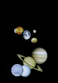 Planetary family photo - A montage of images taken by NASA spacecraft of the planets. From top to bottom: Mercury (Mariner 10), Venus (Magellan), Earth (Galileo) (and moon), Mars (Viking), and Jupiter, Saturn, Uranus and Neptune (Voyager).