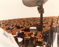 Under salmon skies The Viking 2 spacecraft's view in 1976 of the boulder-strewn field of red rocks on Mars' Utopian Plain.