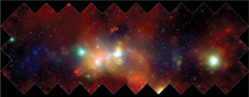 Center of the galaxy - The central high-energy regions of our Milky Way galaxy viewed in panorama by the Chandra X-ray Observatory.