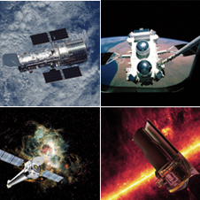 NASA's Mount Rushmore of space observatories - Clockwise from top, left: The Hubble Space Telescope, the Compton Gamma Ray Observatory, the Spitzer Space Telescope and the Chandra X-ray Observatory.