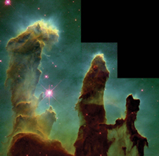 Birthplace of stars - A Hubble Space Telescope image of a star-forming region of interstellar hydrogen gas and dust in the Eagle Nebula 7,000 light-years away in the constellation Serpens.