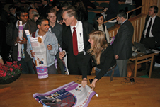 Stockholm celebrity - Nobel Prize recipient John Mather meets University of Stockholm students after giving a science lecture during Nobel Prize Week in 2006.