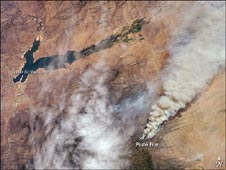 Piute fire in California, seen from International Space Station