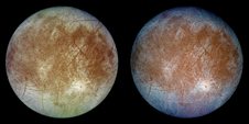 Icy Europa - Two images of Jupiter's ice-covered moon Europa taken by the Galileo spacecraft on Sept. 7, 1996. The left image shows the moon's approximate natural color appearance, and the right image presents a false-color version combining infrared images to enhance color differences in the moon's predominant water-ice crust with coarse-grained ice (dark blue) distinguished from fine-grained ice (light blue).