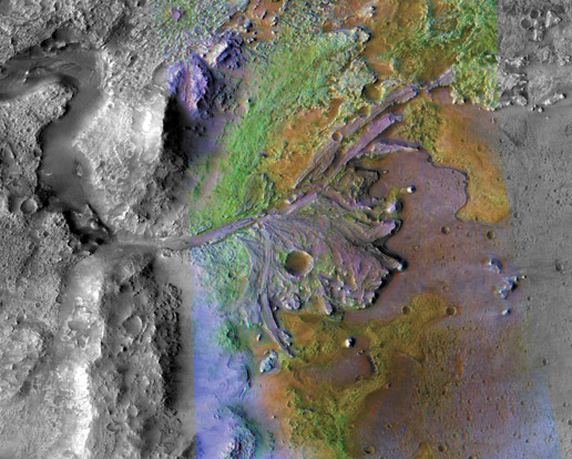 color-enhanced image of the delta in Jezero Crater