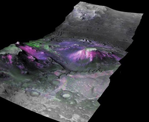 three-dimensional image of a trough in the Nili Fossae region of Mars