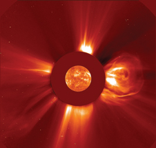 A flare to remember - The largest solar flare ever recorded as observed by the NASA-European Space Agency Solar and Heliospheric Observatory (SOHO) satellite on April 2, 2001. Luckily, the eruption in the sun's atmosphere, releasing the energy equivalent of a billion megatons of TNT, was not aimed at Earth.