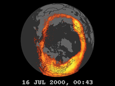 Polar view - NASA's Polar spacecraft provides high resolution global imaging to determine solar influenced controls of the upper atmosphere. This aurora image is part of Polar's mission to measure the entry of plasma into the polar magnetosphere and the geomagnetic tail, the flow of plasma to and from the ionosphere, and the deposition of particle energy in the ionosphere and upper atmosphere. In using Polar, scientists have captured the first-ever movie of auroras dancing simultaneously around both of Earth's polar regions.