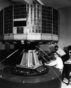Weather watcher - Prior to its April 1, 1960 launch, NASA's first weather satellite TIROS (Television Infrared Observation Satellite) undergoes vibration testing.
