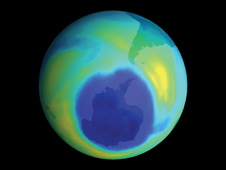 Ozone hole - Total Ozone Mapping Spectrometer (TOMS) data showing the area of the Antarctic ozone hole as it peaked at about the size of North America. Dark blue colors correspond to the thinnest ozone, while light blue, green, and yellow pixels indicate progressively thicker ozone.
