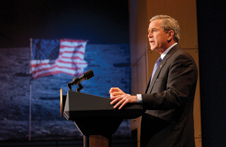 Bold goals - President George W. Bush announced new space exploration goals for the agency at NASA Headquarters on Jan. 14, 2004. Photo credit-NASA/Bill Ingalls