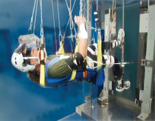 Zero-G Locomotion - Astronaut Don Pettit visited NASA Glenn's Exercise Countermeasures Laboratory to test the Enhanced Zero-gravity Locomotion Simulator (eZLS), which was designed and built by engineers at Glenn and the Cleveland Clinic to simulate how astronauts exercise during space travel.
