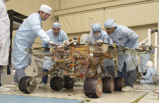 From Pasadena to Mars - Mobility testing for the Mars Exploration Rover 2 at the Jet Propulsion Laboratory.