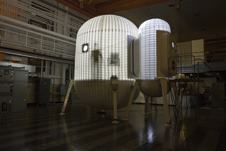 Future moon outpost - An inflatable lunar habitat being tested at Langley Research Center.