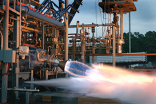 Fire power - A Rocketdyne RS-88 engine test at the George C. Marshall Space Flight Center in 2003.