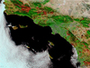 Satellite image of California wildfires