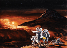 Mission to Mars - Oil on masonite painting by Ren Wicks. Wicks' painting depicts Martian explorers conducting scientific observations, recording wind speed with an anemometer and planetary features with a hand-held camera. A dust storm is approaching the crater area near the landing site, but views of the moons Phobus and Deimos are available in the twilight sky. A Mars excursion vehicle in the background serves as crew quarters for the mission.