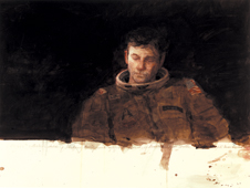 When Thoughts Turn Inward - Water color by Henry Casselli. The painting shows astronaut John Young during suit-up for the first space shuttle mission.