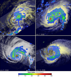 Four TRIMM images of Hurricane Bertha