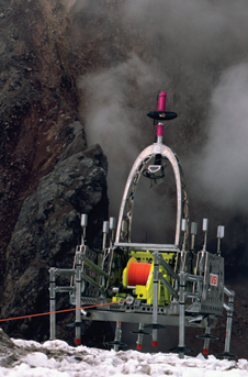 Volcanic heat - Ingalls' shot of the NASA-Carnegie Mellon University Dante II robot exploring Alaska's Mt. Spur volcano. Photo credit-NASA/Bill Ingalls