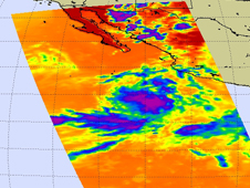 AIRS image of Genevieve southwest of Manzanillo, Mexico